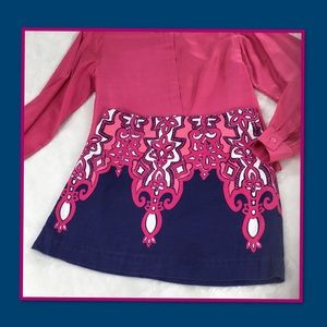LILY PULITZER MINI SKIRT BLUE WITH PINK PATTERN 2